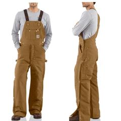 Carhartt Quilt Lined Zip To Thigh Bib Overalls R41